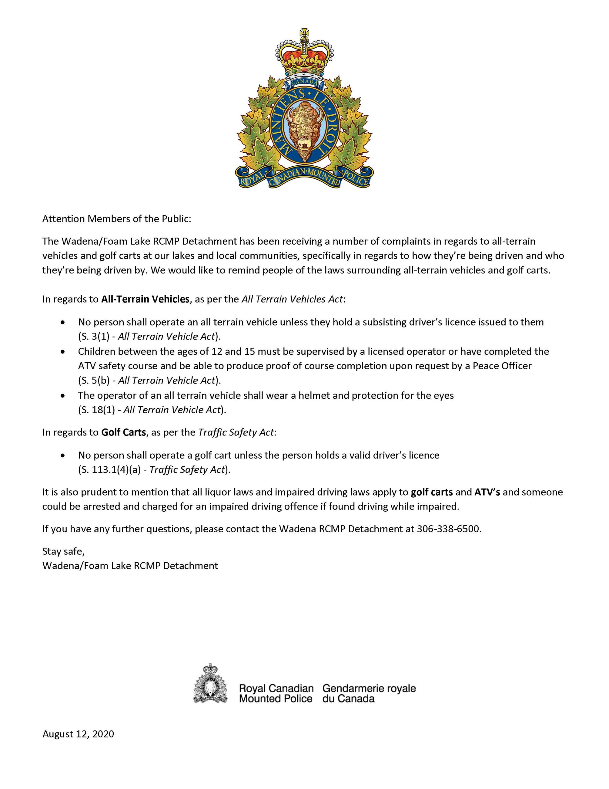 2020.08.12 RCMP ATV  Golf Cart_ Notice